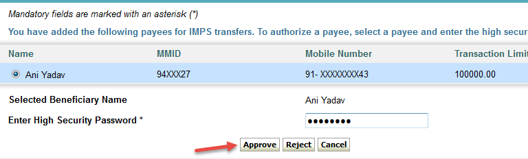 approve imps sbi