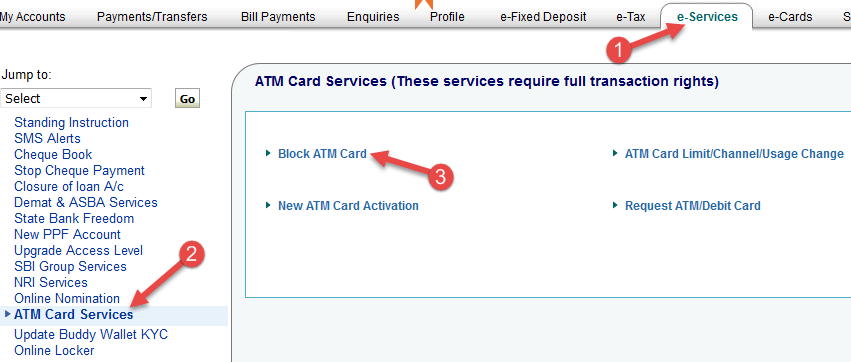 block atm card sbi