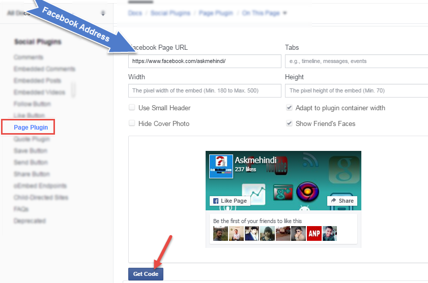 facebook page plugin setup