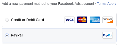promote page facebook payment