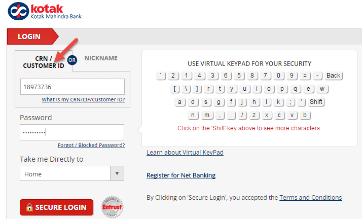 kotak mahindra bank net banking password locked