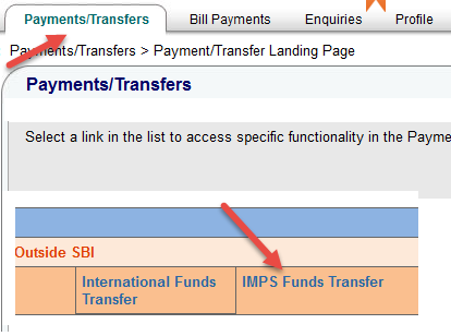 sbi payments and transfer