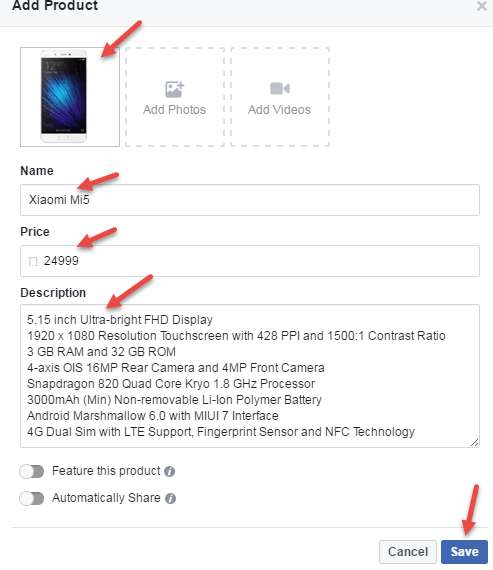 add product facebook page
