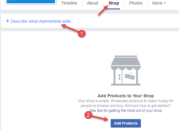 add shop section facebook