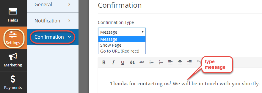confirmation settings wpforms