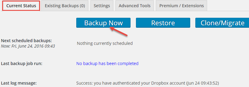 create backup updraftplus