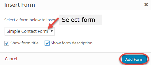 insert form wpforms
