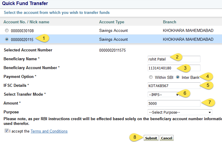 sbi quick transfer