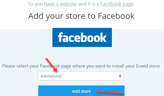 select-facebook-page-ecwid