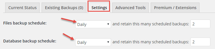 settings updraftplus plugin