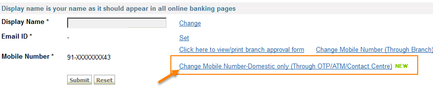 onlinesbi change number