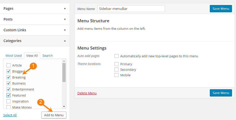 Wordpress create menu