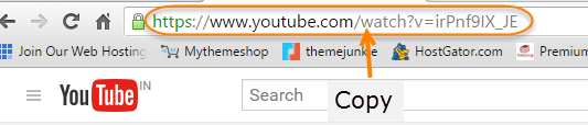 youtube video URL copy address bar