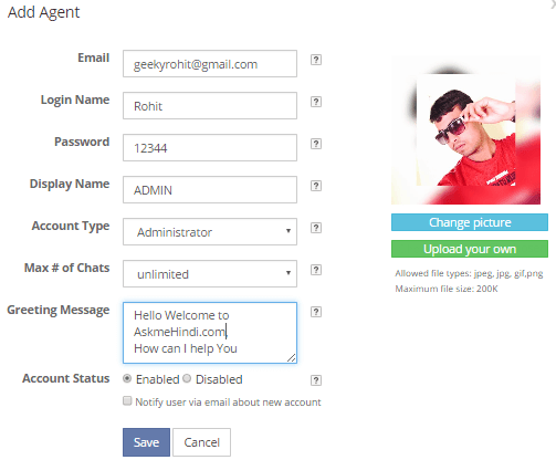 add agent mylivechat