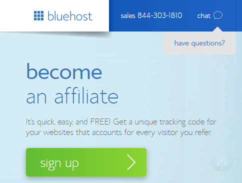 bluehost affiliate signup