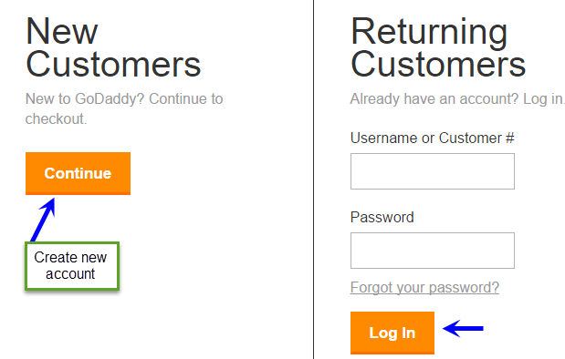 godaddy account create