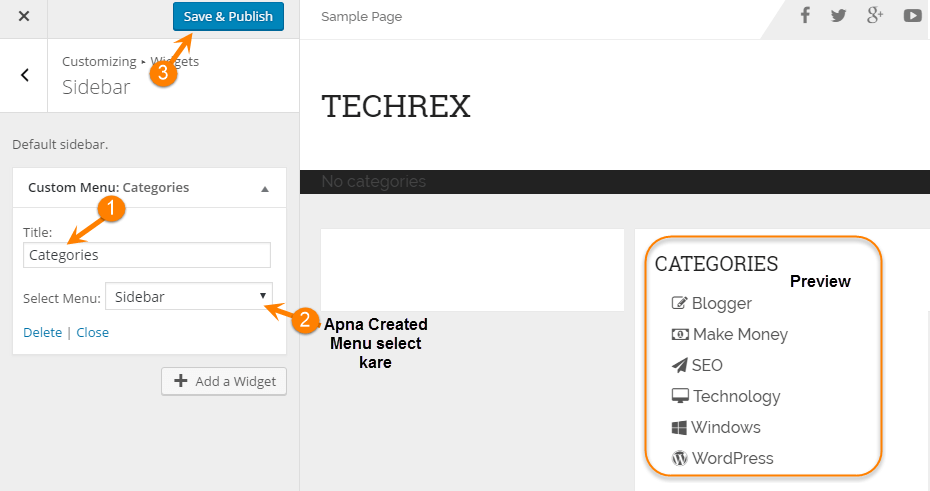 wordpress add a widget