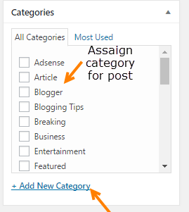 wordpress category post editor