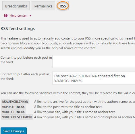 Yoast Plugin settings RSS