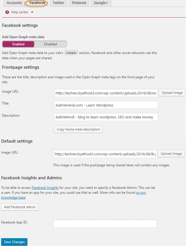 Yoast Plugin settings facebook