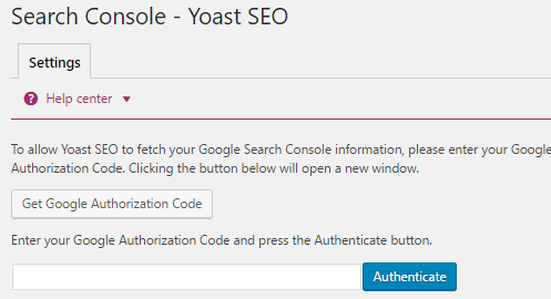 Yoast setting search console