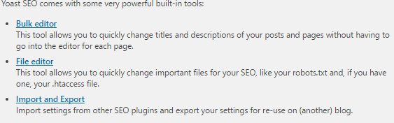 Yoast Plugin settings tools
