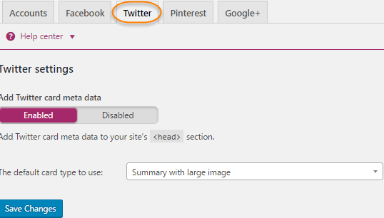 Yoast Plugin settings twitter