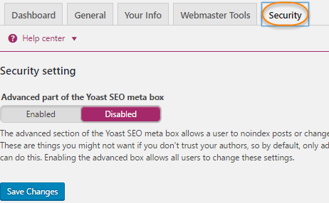 Yoast Plugin settings