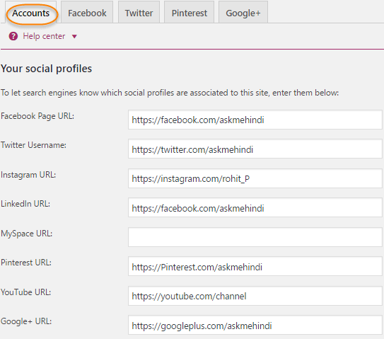 Yoast Plugin settings Social