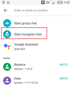 Google Allo app incognito chat