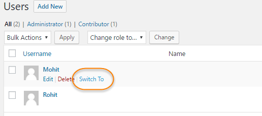 wordpress switch user accounts