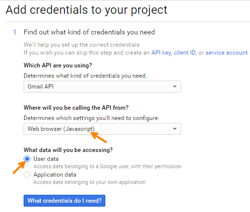 google api add credentials