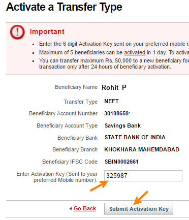 kotak bank activate beneficiary