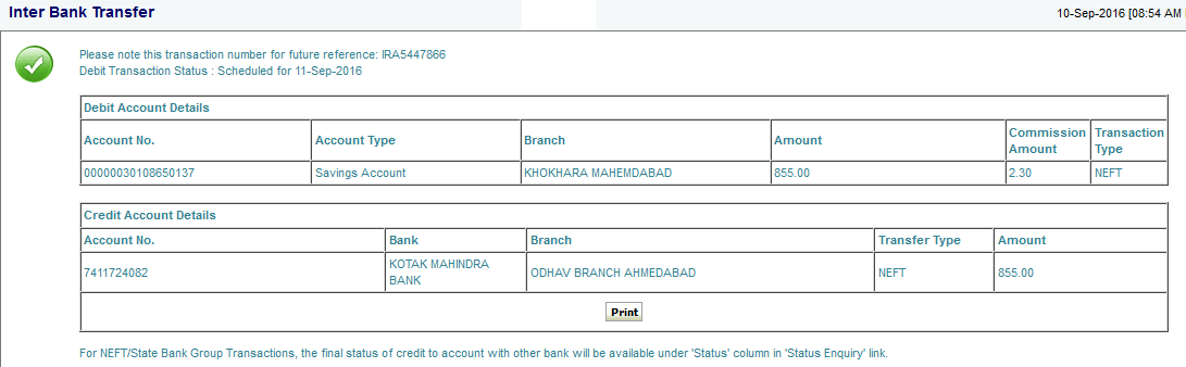 sbi fund trasnfer