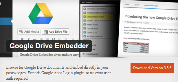 google drive embedder plugin
