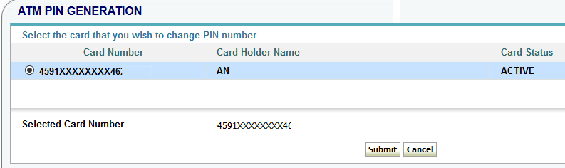 onlinesbi ATM card Pin change