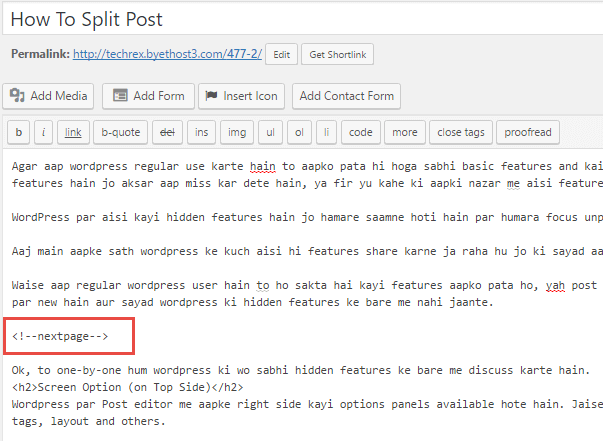 wordpress split post