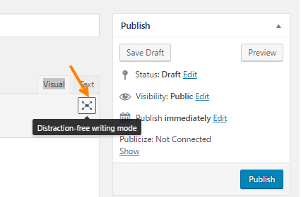 wordpress distraction free mode