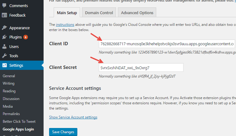 Google apps login plugin