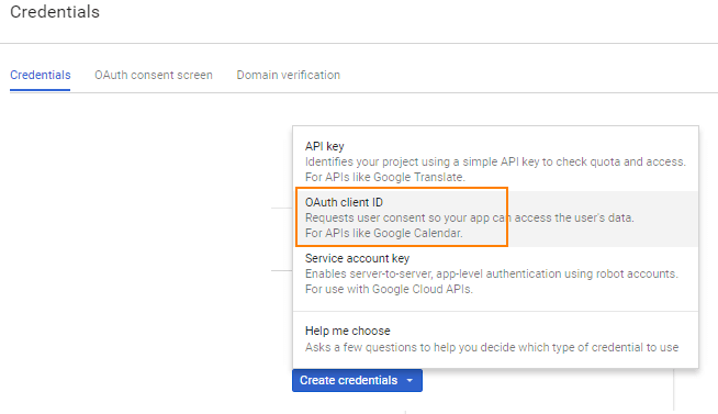 Google console developer credentials