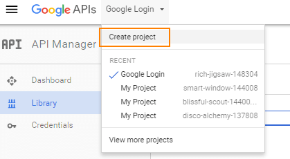Google console developer new project