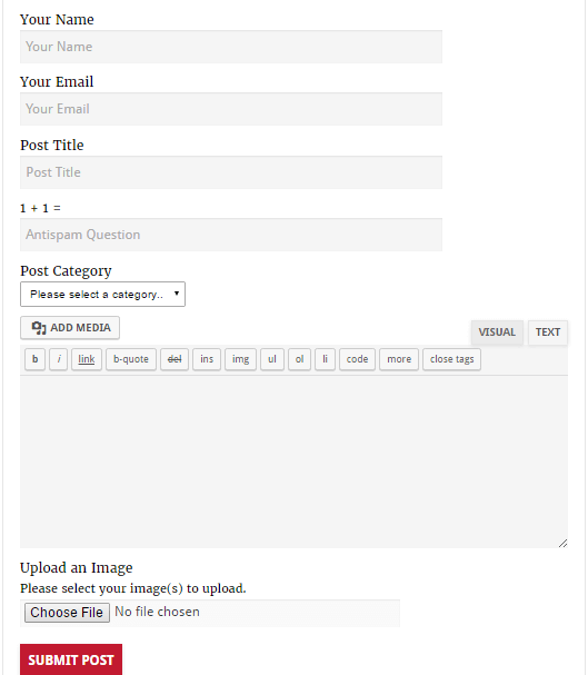 submit Post wordpress page