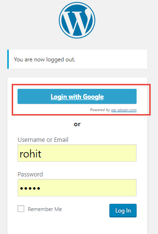 login with google wordpress