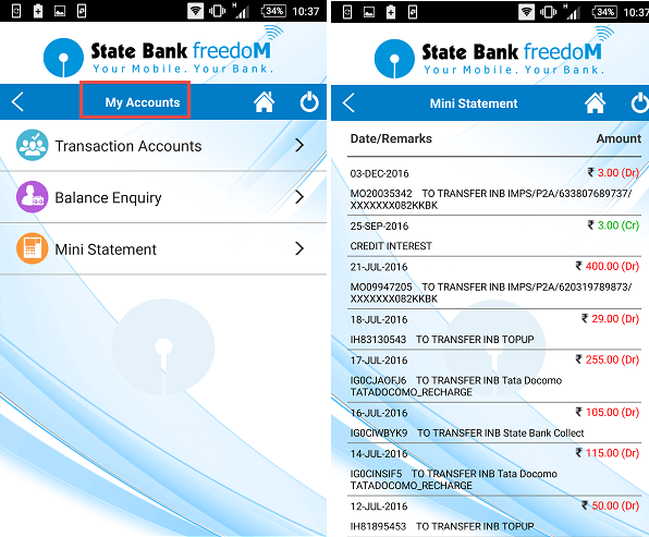 sbi freedom check statement