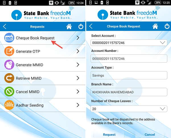 sbi freedom cheque book request
