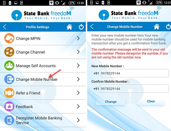 sbi freedom change number