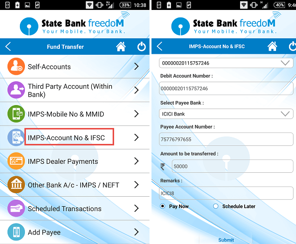 sbi freedom IMPS fund transfer