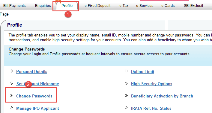 onlinesbi change password