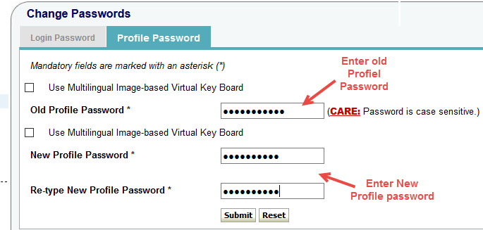 onlinesbi change profile password