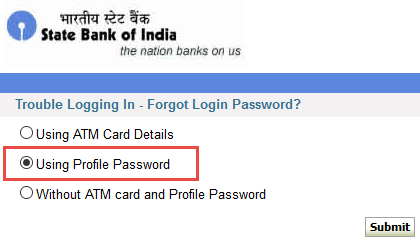 onlinesbi password reset